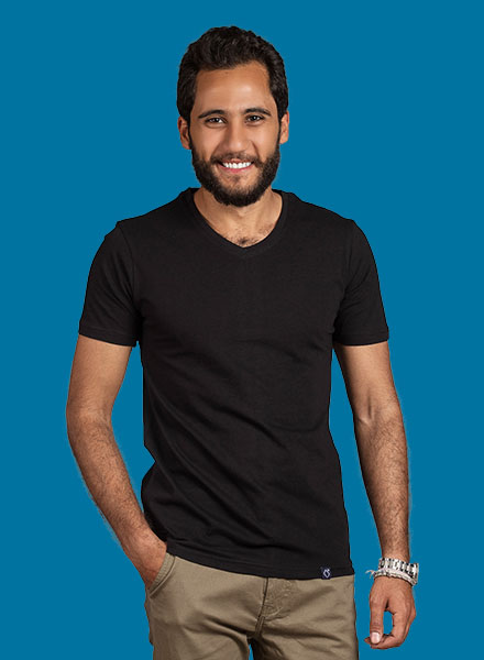 Black Summer V-Neck t-shirt Men