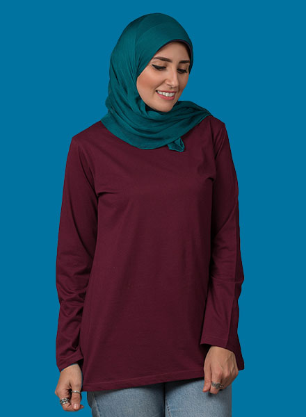 Burgundy Long Sleeve Women ( Long Cut )