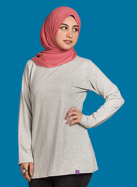 Grey Long Sleeve Women ( Long Cut ) 2XL