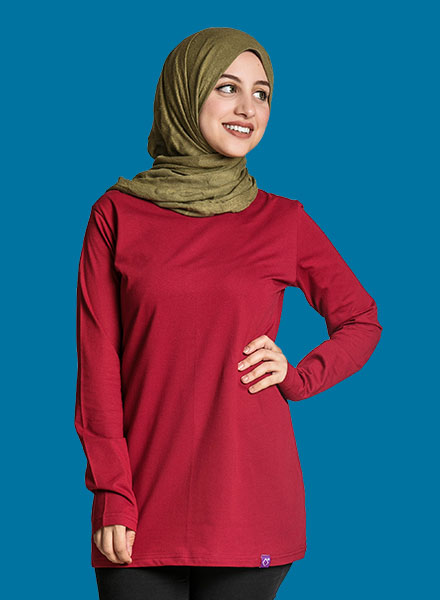 Maroon Long Sleeve Women ( Long Cut ) S